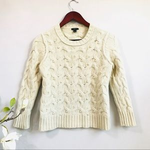 Ann Taylor wool cable knit pearl sweater